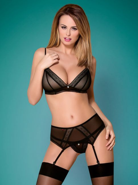 BH, Strumpfhaltergürtel und String - Collection black sin