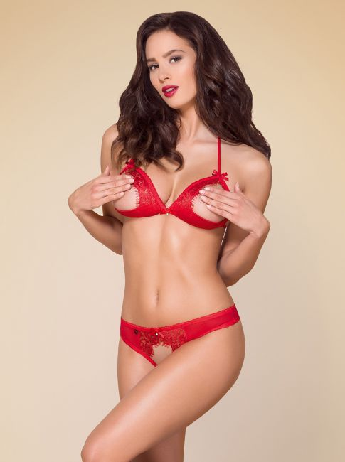 BH und String ouvert - rot - Collection Emma