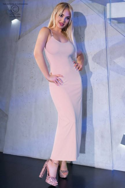 Langes Kleid CR4379 light pink