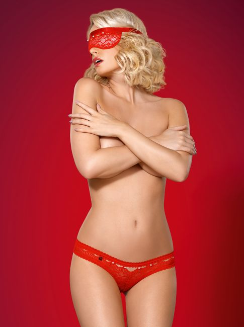 Maske und Panties im Set - rot - Collection Steffi