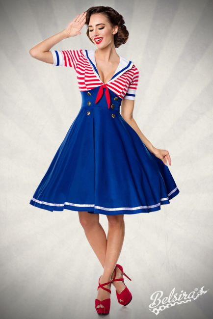 Swing-Kleid im Marinelook