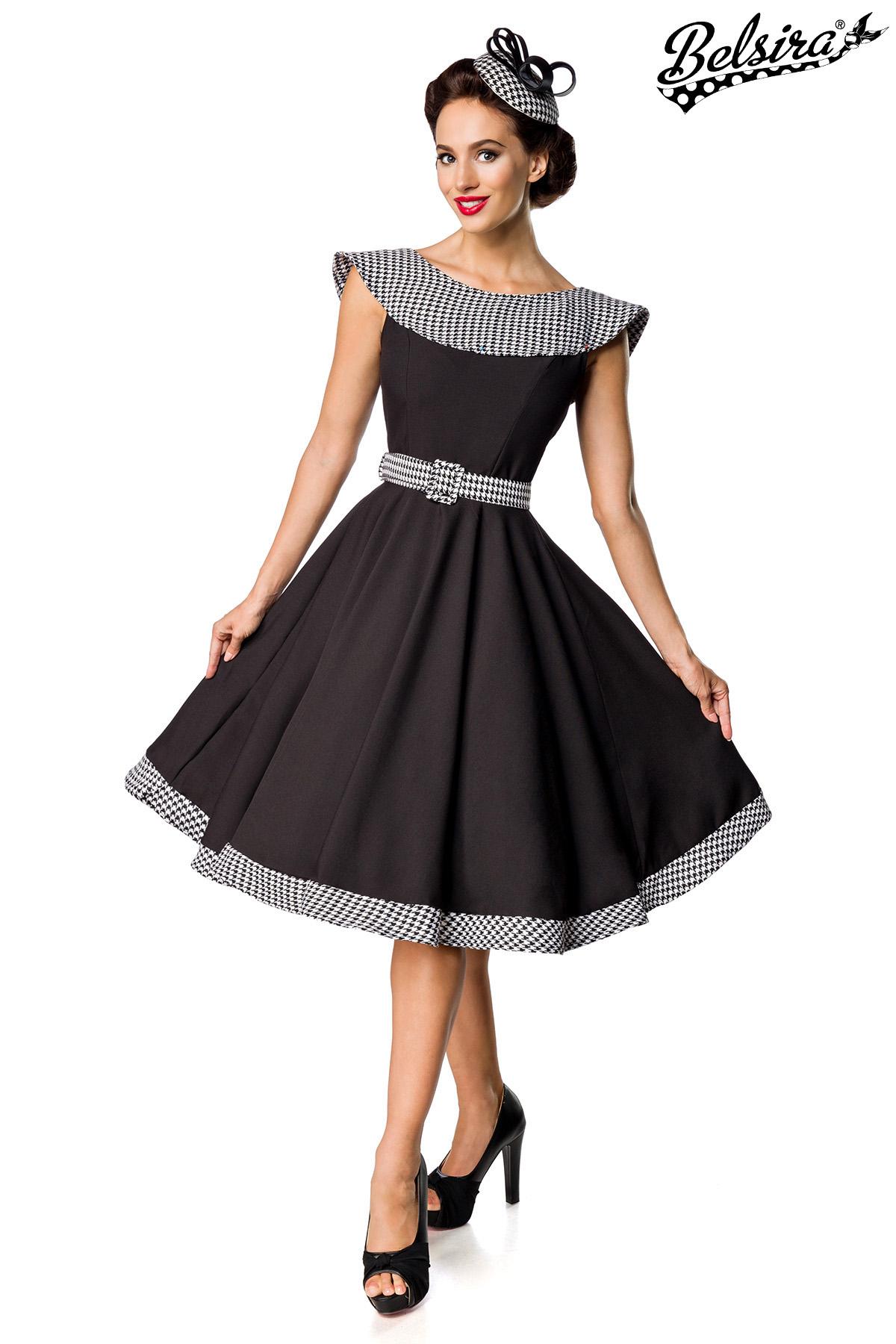 Belsira Premium Vintage Swing-Kleid schwarz/weiß (13) in