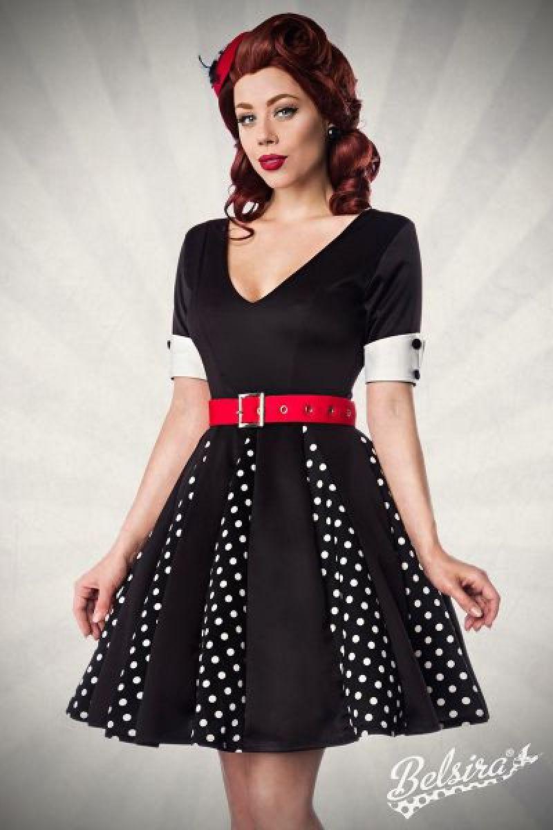 Godet-Kleid schwarz-weiss-rot 1-50022-119
