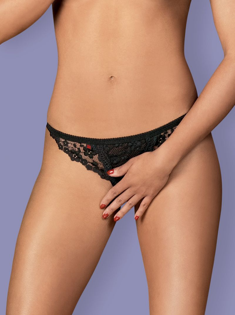 Letica Crotchless Thong schwarz 2-6591