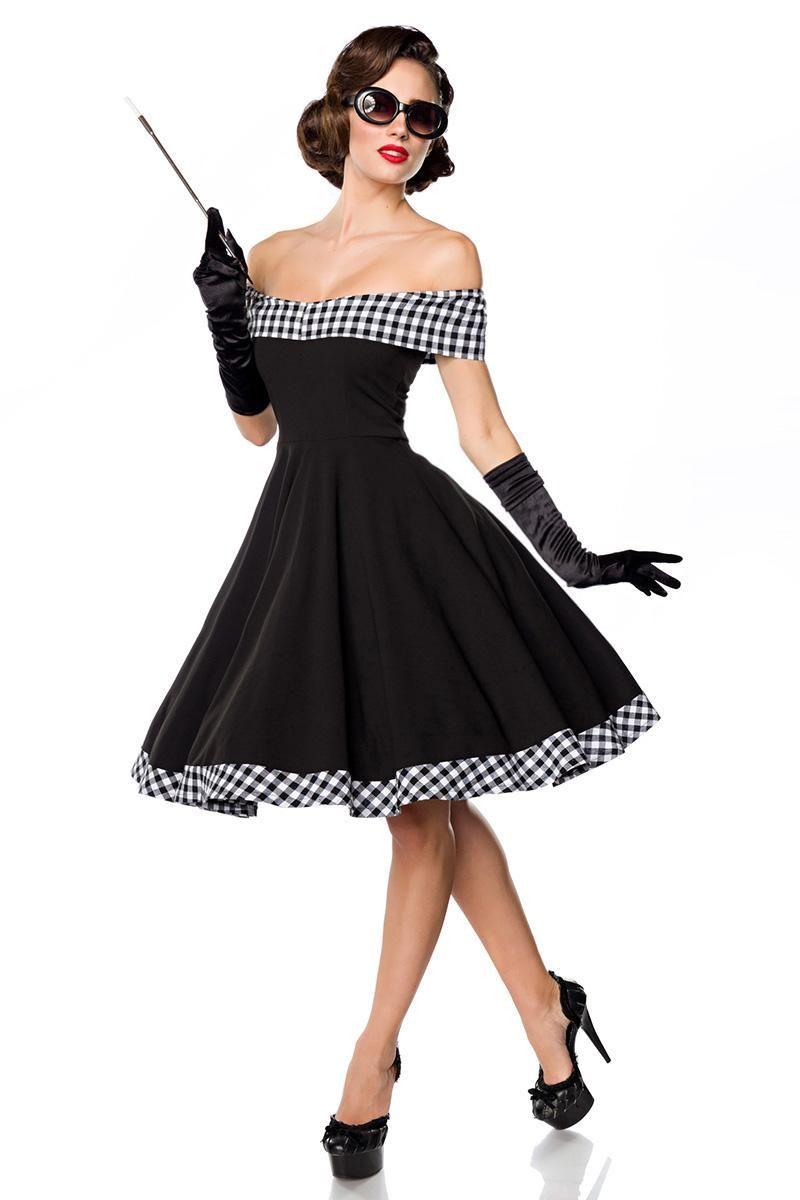 Belsira schulterfreies Swing-Kleid schwarz/weiß (50053) in ...